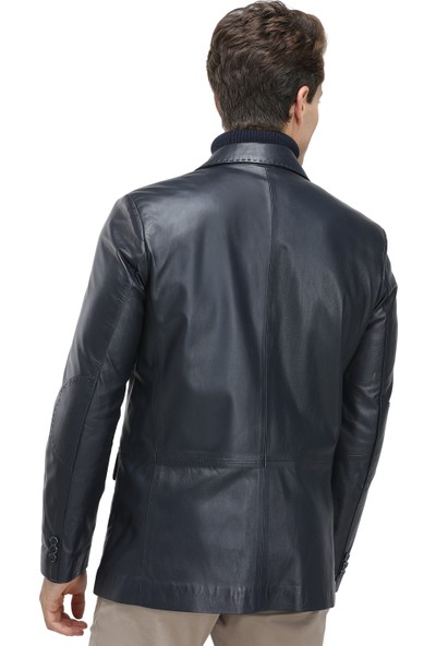 D's Damat Regular Fit Lacivert Deri Ceket
