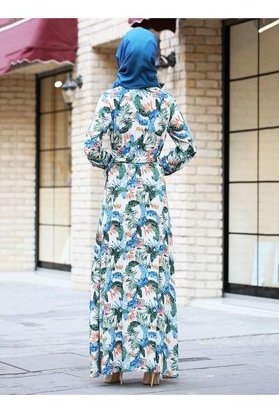 Gizemkış Vizon Doğal Kumaşlı Bahar Elbise