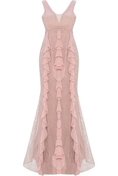 Mileny Pudra Volan Detaylı Abiye Elbise