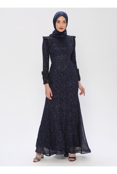 Mileny Lacivert Pul Detaylı Abiye Elbise