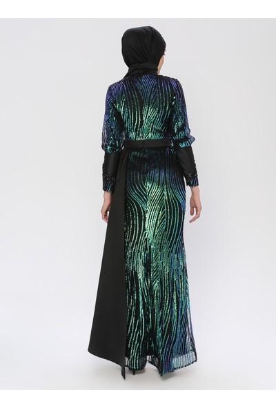 Mileny Siyah Payetli Abiye Elbise