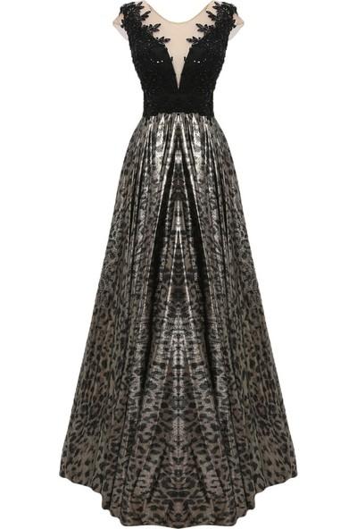 Mileny Siyah Boncuk Detaylı Abiye Elbise