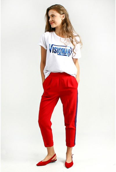 Collezione Kadın Kırmızı Jogger Pantolon Bello