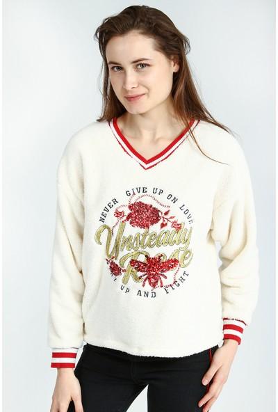 Collezione Kadın Ecru Sweat Shirt Fiommeta