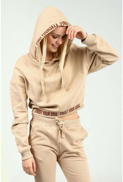 Collezione Kadın Deve Tüyü Regular Sweat Shirt Ermen