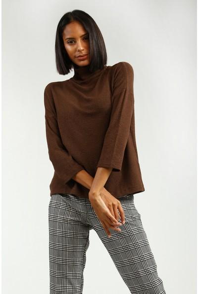 Collezione Kadın Kahverengi Regular T-Shirt Nisera