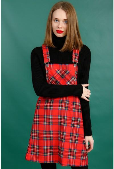 Collezione Kadın Kırmızı Salopet Tulum Karef