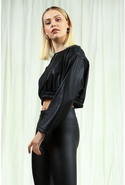 Collezione Kadın Siyah Slim Deri Bluz
