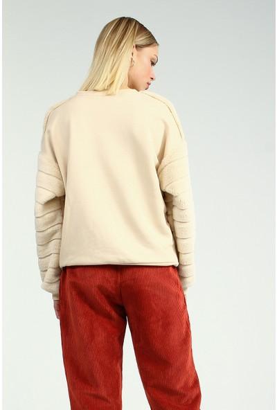 Collezione Kadın Ecru Regular Sweatshirt