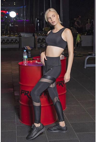 Lilyum Sports Spor Tayt Yoga Pilates Giyim - Karma Tüllü Deri Detaylı