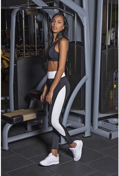 Lilyum Sports Spor Tayt Yoga Pilates Giyim - Maya Design Siyah - Beyaz