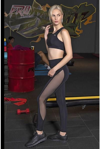 Lilyum Sports Spor Tayt Yoga Pilates Giyim - Maya Design Siyah - Tüllü