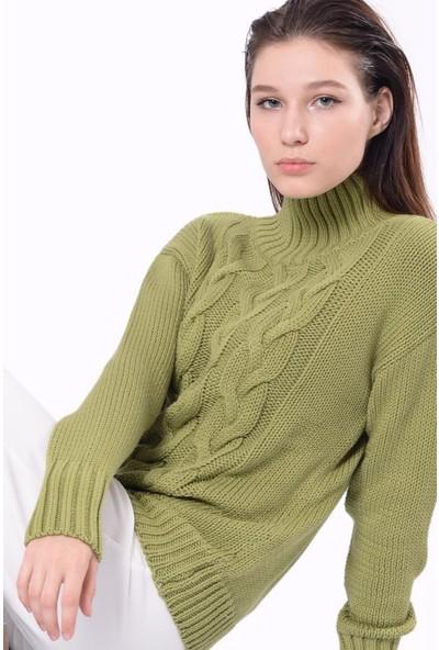 Efgima Boğazlı Saç Örgülü Kazak Yeşil