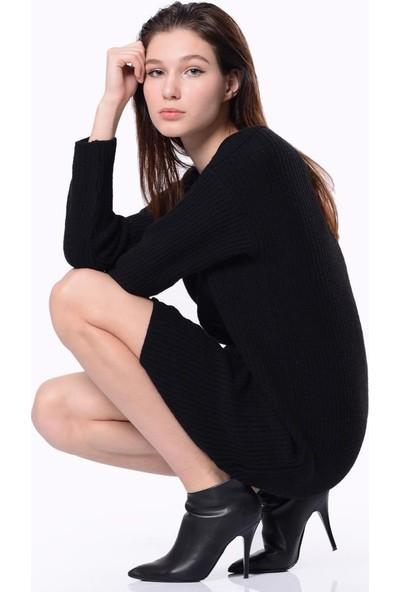 Efgima V Yaka Triko Elbise Siyah
