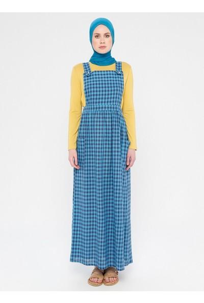 Miscats Kadın Ekoseli Salopet Elbise