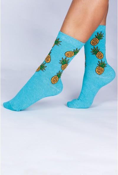 Butik Kafası Ananas-Karpuz Desenli Unisex Çorap 4'lü