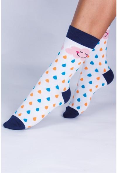 Butik Kafası Bulut-Yağmur Desenli Unisex Çorap 4'lü