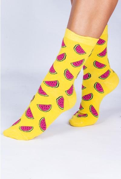 Butik Kafası Meyveli Desenli Unisex Çorap 4'lü