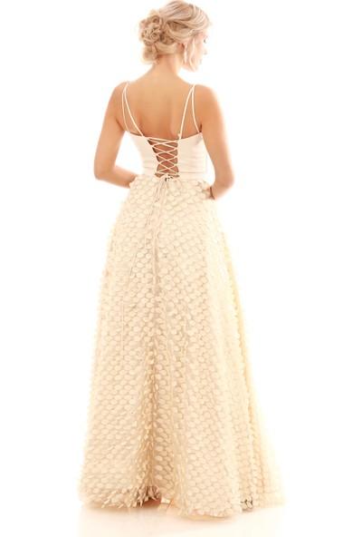 Pierre Cardin Ekru Askılı Kloş Etekli Prenses Abiye Elbise