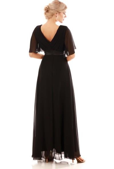 Pierre Cardin Siyah Şifon Piliseli Uzun Abiye Elbise