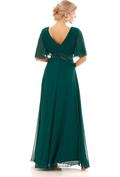 Pierre Cardin Yeşil Şifon Piliseli Uzun Abiye Elbise
