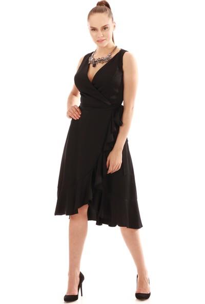 Carmen Siyah Eteği Fırfırlı Saten Abiye Elbise
