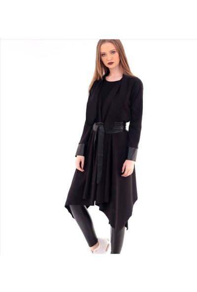 Deri Detaylı Siyah Hırka Elbise