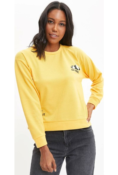 DeFacto Regular Fit Baskılı Sweatshirt