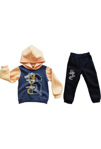 Ella Erkek Çocuk 2'Lİ Kapşonlu Eşofman Takımı Sarı Mavi Kışlık Pamuklu Kalın Kumaş 2-3-4-5 Yaş