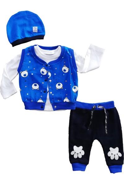 May Mirr Erkek Bebek 4'lü Takım Yelekli Mavi Pamuklu Kumaş 3-6-9 ay