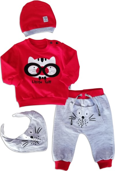 May Mirr Erkek Bebek 4'lü Takım Fularlı Kırmızı Pamuklu Kumaş 3-6-9 ay