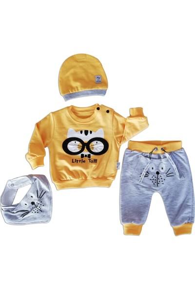 May Mirr Erkek Bebek 4'lü Takım Fularlı Sarı Pamuklu Kumaş 3-6-9 ay