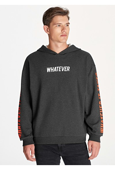 Mavi Erkek Whatever Baskılı Gri Oversize Sweatshirt 065835-29822