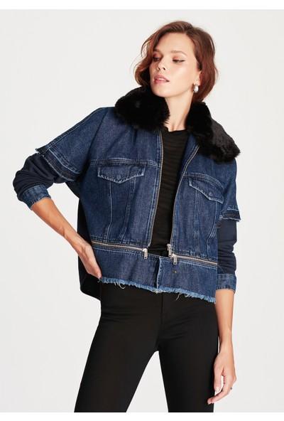 Mavi Kadın Lana Gold Icon Fermuar Detaylı Denim Ceket