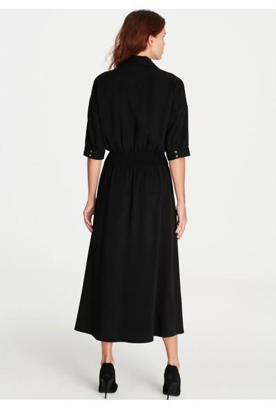 Mavi Kadın Düğme Detaylı Siyah Elbise
