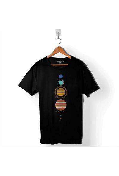 Kendim Seçtim Güneş Sistemi Gezegenler Solar Sistem Dünya Ay Erkek Tişört