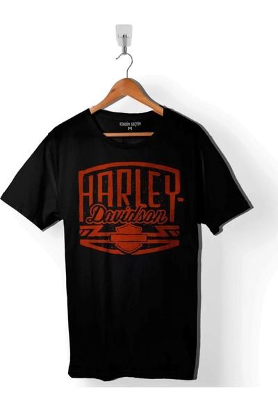 Kendim Seçtim Harley Motorcycles Davidson Orange Bar Shield Black Erkek Tişört