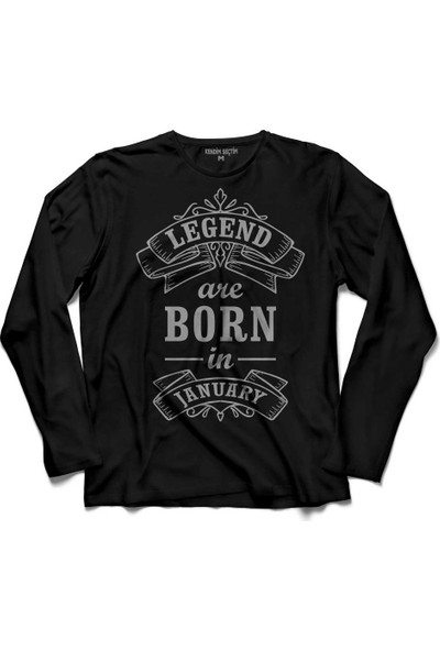 Kendim Seçtim Legends Are Born In January Doğum Günü Hediye. Uzun Kollu Tişört