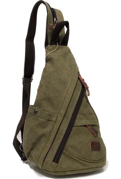Kf Canvas Çanta Tek Asılı Sırt Çantası Bady Bags Ebat 35cm x 30cm Yeşil