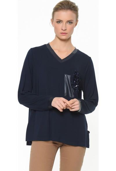 Whip Design Çift Cepli V Yaka Uzun Kol Bluz 92-00006