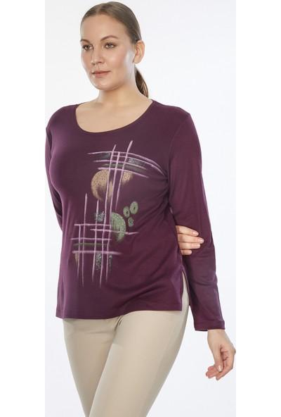 Whip Design Daire Desenli Varaklı Bisisiklet Yaka Uzun Kol Bluz 92-00129