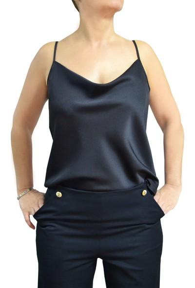 Arzu Gürbüz Kadın Siyah Kolsuz Bluz