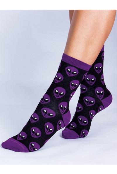 Butik Kafası Uzaylı Suratı Desenli Çorap Unisex
