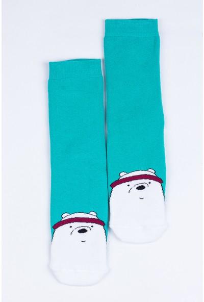 Butik Kafası Kutup Ayısı Desenli Çorap Unisex