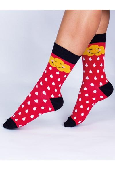 Butik Kafası Bulut-Yağmur Desenli Çorap Unisex