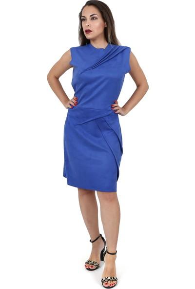 Tantrona Pilise Detay Saks Mavi Suni Deri Süet Ofis Trend Elbise