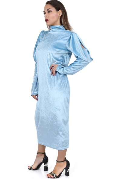 Tantrona Balon Kol Kadife Moderate Uzun Bebe Mavi Elbise