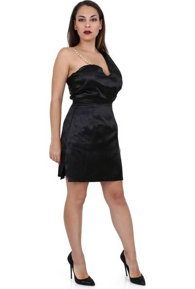 Tantrona Özel Tasarım Tek Omuz Swarovski Taşlı Saten Abiye Elbise