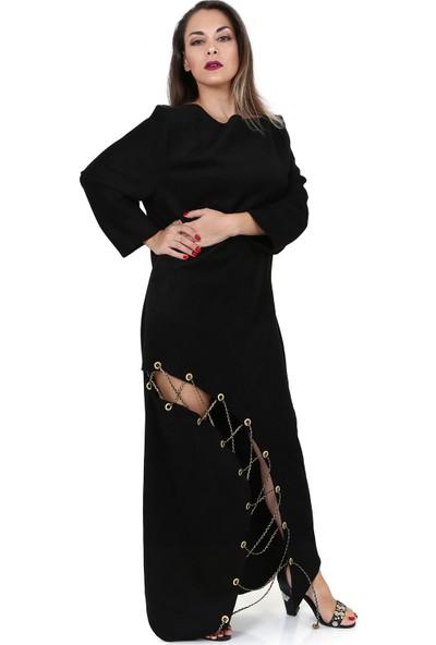 Tantrona Bağcıklı Suni Deri Süet Uzun Abiye Moderate Elbise