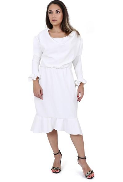 Tantrona Ofis Şıklığında Tarz Fırfırlı Uzun Kol Moderate Elbise